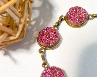 antique brass bangle with cerise sparkly druzy stone,mothers day,gift,birthday