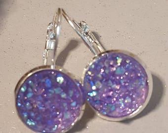Pale purple earrings,silver dangly earrings, sparkly purple, faux druzy, nickel free,rose gold, sparkly glitter, faux druzy,druzy earrings,