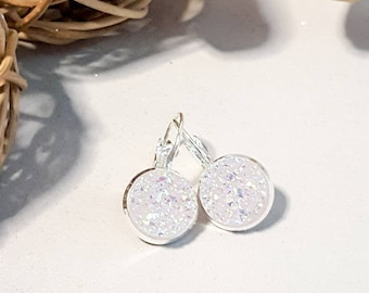 Ice white earrings,silver dangly earrings, sparkly  white, faux druzy, nickel free,rose gold, sparkly glitter,druzy earrings,