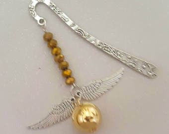 silver gold bookmark, charms,gold faceted crystal beads, books,reading,mothers day,ball & wings