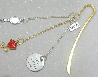 rose bookmark, in gold, silver gold chains,beauty & the beast inspired,rose,mirror,wish,charmsbooks,reading,mothers day, family, love