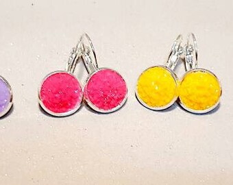 Bright dangly earings , lever arch, girls under 10 pound, nickel free,silver, sparkly glitter, faux druzy,girls, druzy dangly, jewellery,