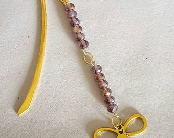 Bow bookmark in gold, multifaceted crystal AB  bead 4x6mm,gold bow,books,reading,mothers day, family, love