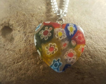 millifiore lamp work glass colour charm pendant and silver chain