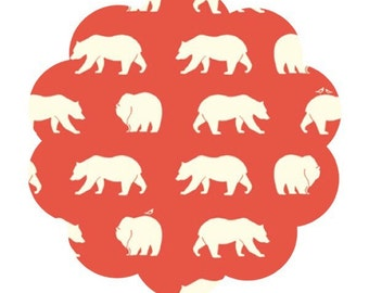 Bear hike print knit fabric. Bear camp knit fabric. Organic knit fabric. Coral red bear hike knit. Modern bear fabric. DIY sewing fabric.
