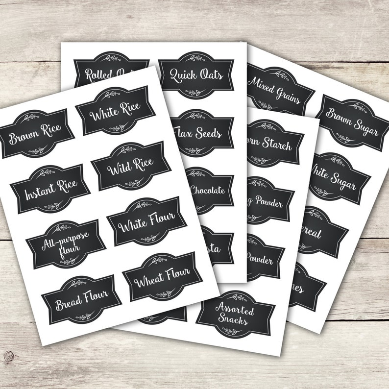 Chalkboard Style Pantry Labels Printable  Instant Download