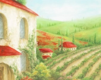 Tuscany Vinyards Red Poppies Tuscany Cypress Trees Tarrace Garden Red Roof Houses Art Print Bathroom Livingroom Oil Art Work Traditional