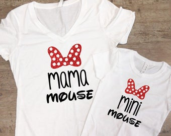 Mama Mouse Mini Mouse Matching Shirt Set | Mommy & Me Set | Mini Mouse | Matching Mouse Set | Mama and Mini Mouse Shirt Set | Glittery Tees