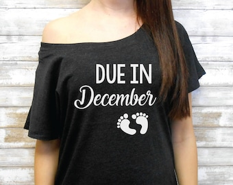 Due in (Month) Flowy Off Shoulder Tee - Due in January February March April May June July August September October November December Shirt