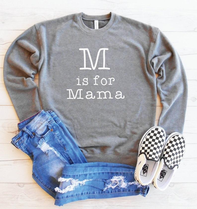 Unisex Fit Mama Sweater Fleece Lined Drop Shoulder Sweater Fuzzy Soft Mom Sweatshirt Cute Mom Sweatshirt M is for Mama Sweatshirt