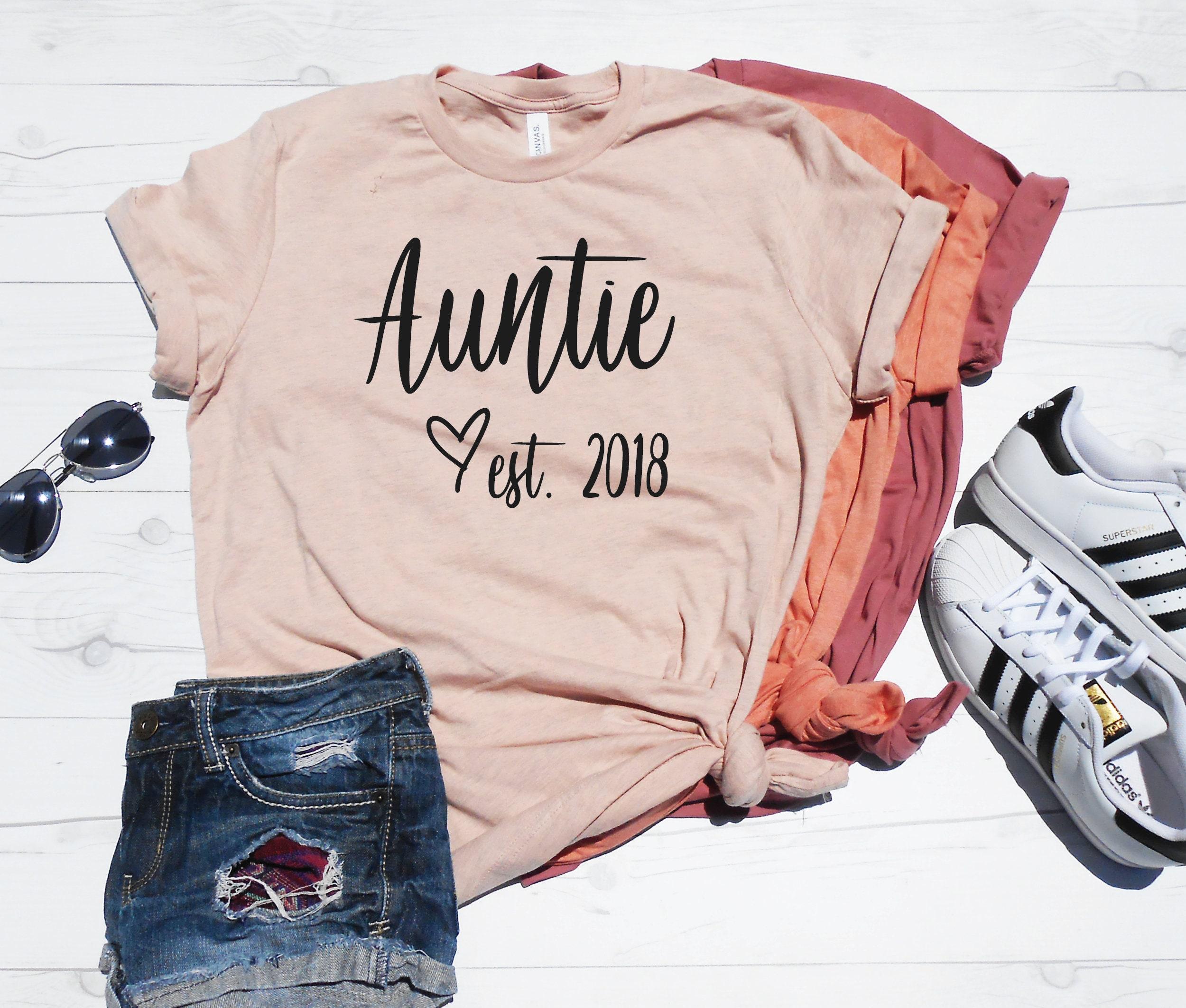 Auntie Est Shirt Aunt Est Custom Year T Shirt New Aunt Etsy