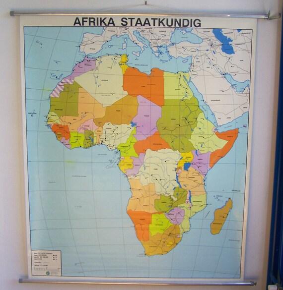 Weltkarte Poster Vintage vintage africa map large school chart africa map | etsy