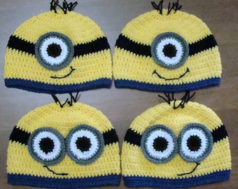 0629ab83e2b96 Crochet Minion Hats - Made to Order   For Families   Photo Prop   Gifts    Any Size   Customizable   Baby - Adult   Despicable Me Movie