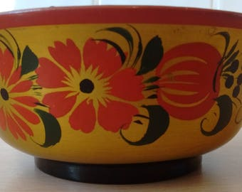 Russian / Soviet KHOKHLOMA Hand Painted Wooden Bowl Made in USSR  with Original Paper Label Vintage