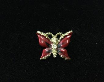 Vintage Brooch, Butterfly, Goldtone, Red & Black Wings