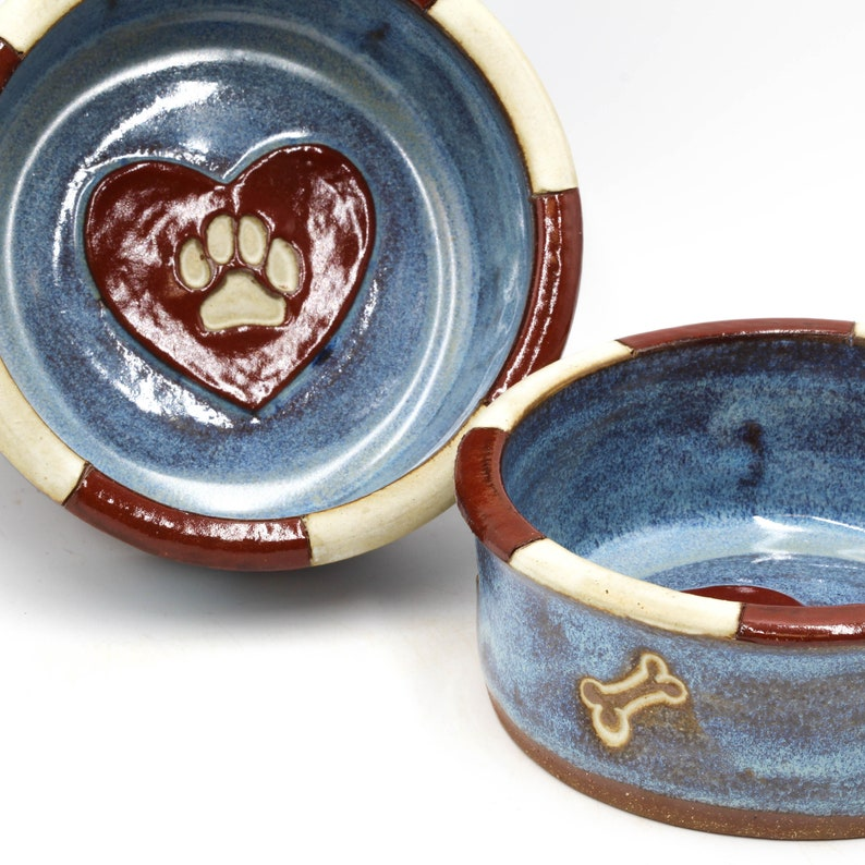 Ceramic Dog  Food or Water Dish Pet Bowl Small Blue and Red Heart Pottery Dog Bowl with Checked Border Bone /& Paw Print Pet Dish