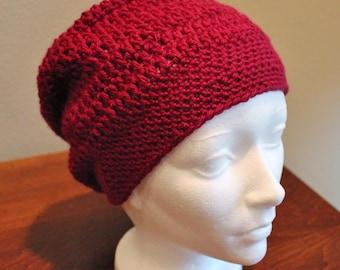 Slouch Crochet Hat in Burgundy
