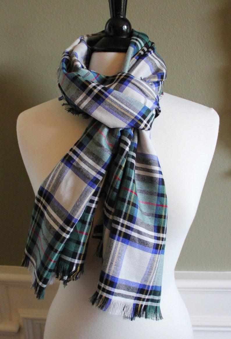 ca461ad48 Hunter Royal Blue and White Tartan Plaid Scarves | Etsy