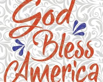 God Bless America,  SVG Cut File