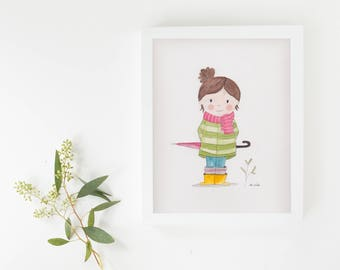 """Original illustration """"girl"""" watercolor"""
