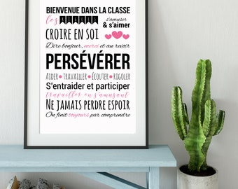"""""""The Rules of the Class"""" class poster for teachers (format printed on watercolour paper)"""