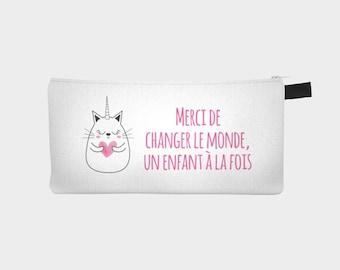 """Chest pencil - makeup pouch """"Unicorn kitten"""" for teacher"""