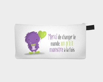 "Treasure chest pencil or makeup case ""P"" little monster """