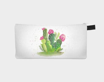 "Treasure chest pencil or makeup case ""Watercolor Cactus"""