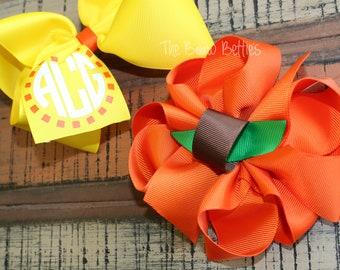 Pumpkin Hair Bow Candy Corn Hair Bow You pick size Fall Hair Bow Halloween Hair Bow Thanksgiving Hair Bow Fall Monogram Bow