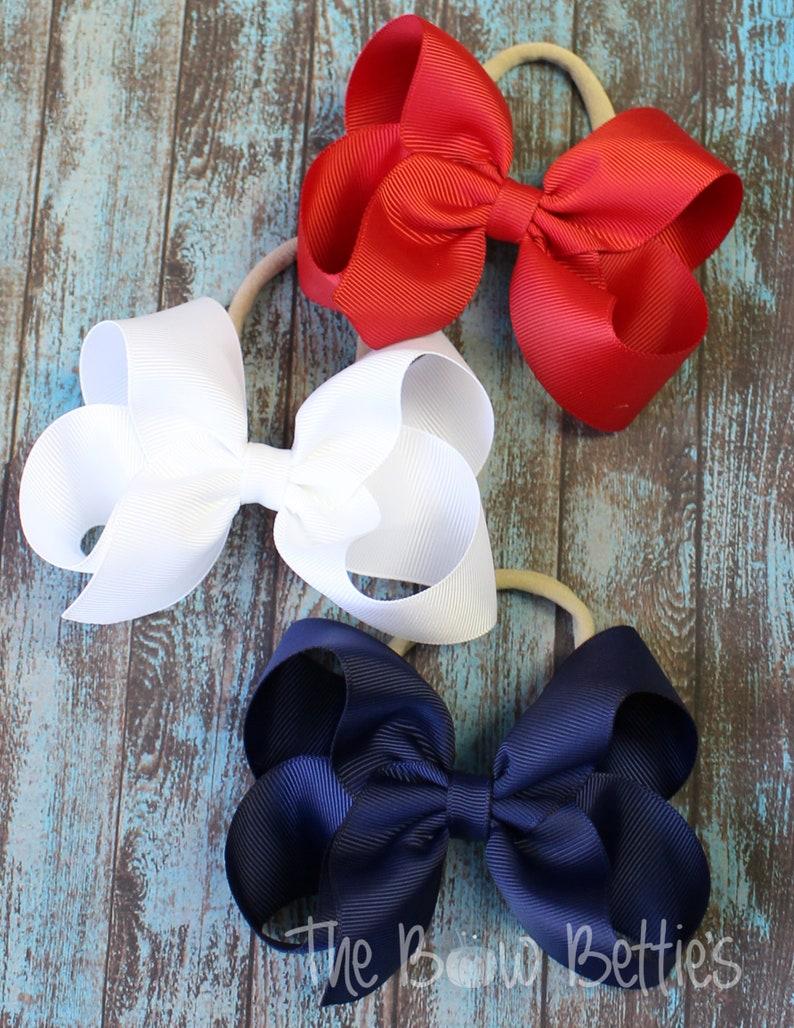 Independence Day Headband Patriotic Hair Bow Navy Headband Patriotic Theme Bows 4th of July Infant Bows White Headband Red Headband