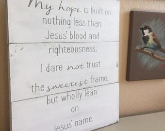Christ Alone Cornerstone - Rustic Wooden Sign.