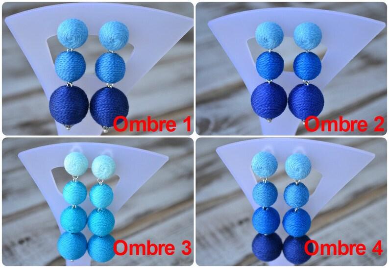 Blue ombre bon bon bonbon earrings Four balls clip earrings image 0