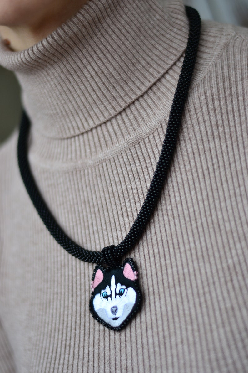 Husky mops pet pendant chocker necklace jewelry Embroidered beaded animal Siberian Husky charm necklace for dogs lover
