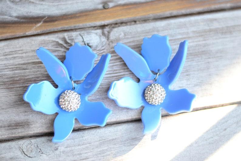 Pale blue lily acetate Flower drop earrings Statement acrylic floral serenity earrings Statement chunky big dangle earrings jewelry