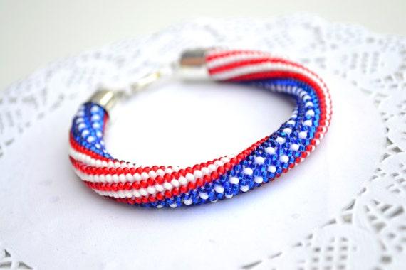 Amerikanische USA Flagge Perlen häkeln Seil Armband Schmuck | Etsy