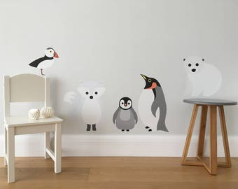 Arctic Animals Wall Sticker Set, Arctic Animals Decals, Polar Bear Decal, Arctic Fox Decal, Penguin Decal, Puffin Decal, Kids Wall Stickers