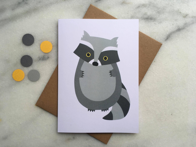 Raccoon Card Raccoon Greeting Card Card For Boy Blank