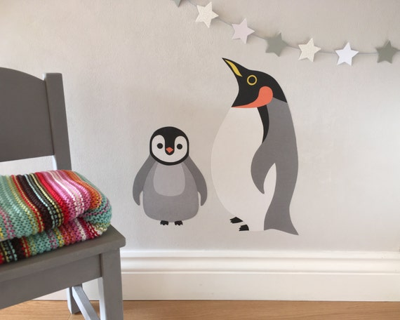 penguin wall stickers penguin wall decal penguin nursery | etsy