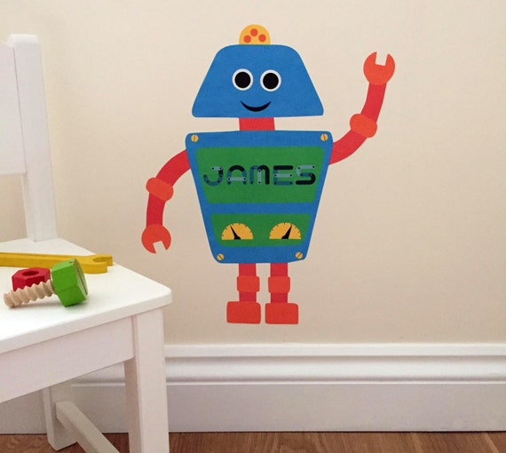 personalised robot wall sticker robot decal robot   etsy