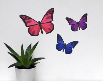 Butterfly Wall Stickers - Butterfly Decals - Pink Butterflies - Purple Butterflies - Pink Nursery Decor - Girls Room Decor - Butterfly Art