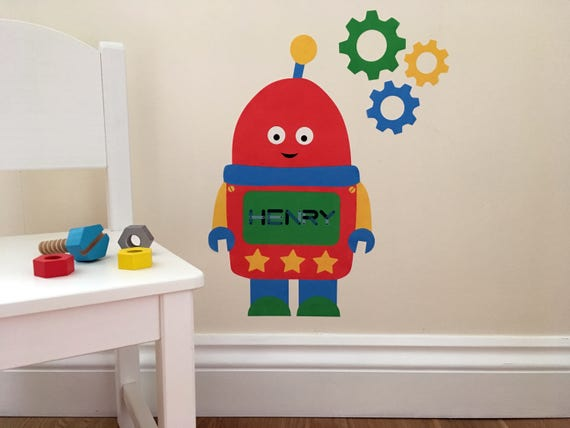 personalised robot wall sticker robot decal personalised   etsy
