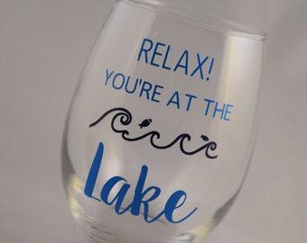 FREE SHIPPING, Lake Gift, Lake Wine Glass, Lake Wine Glasses, Lake, Stemless Wine Glass, Stemless Wine Glasses, Lake Glass, Lake Glasses
