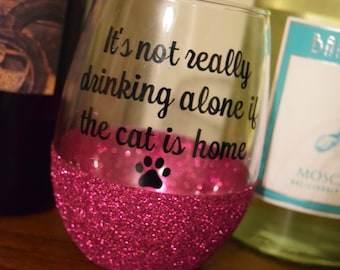 FREE SHIPPING, Cat Wine Glass, Glitter Dipped Wine Glass, Glitter Wine Glass, Funny Wine Glass, Stemless Wine Glass, Cat Gift, Cat Gifts