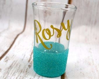 FREE SHIPPING, Personalized Shot Glass, Glitter Shot Glasses, Custom Shot Glass, Best Friend Gift, Birthday Gift, Gifts Under 10
