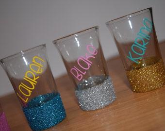 FREE SHIPPING, Shot Glasses, Glitter Dipped, Personalized Glitter Shot Glasses, Friend Gift, Personalized Gift, Glitter Shot Glasses