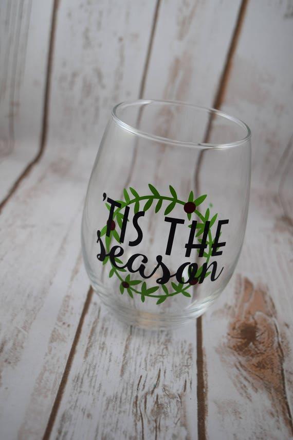 Weihnachtsgeschenk Weihnachten Wein Glas Tis die Jahreszeit | Etsy