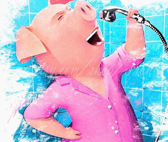 Sing Movie Rosita Rosita A Pig Watercolor Poster Rosita Rosita Print Sing Rosita Poster Pig Rosita Kids Room Party Decorations T 033