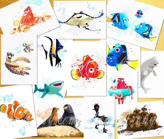 Encontrar estampados acuarela 14 Dory Nemo Dory Hank Gill | Etsy