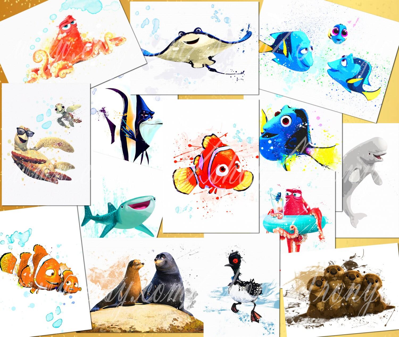 Finding Dory 14 Watercolor Prints Nemo Dory Hank Gill Etsy