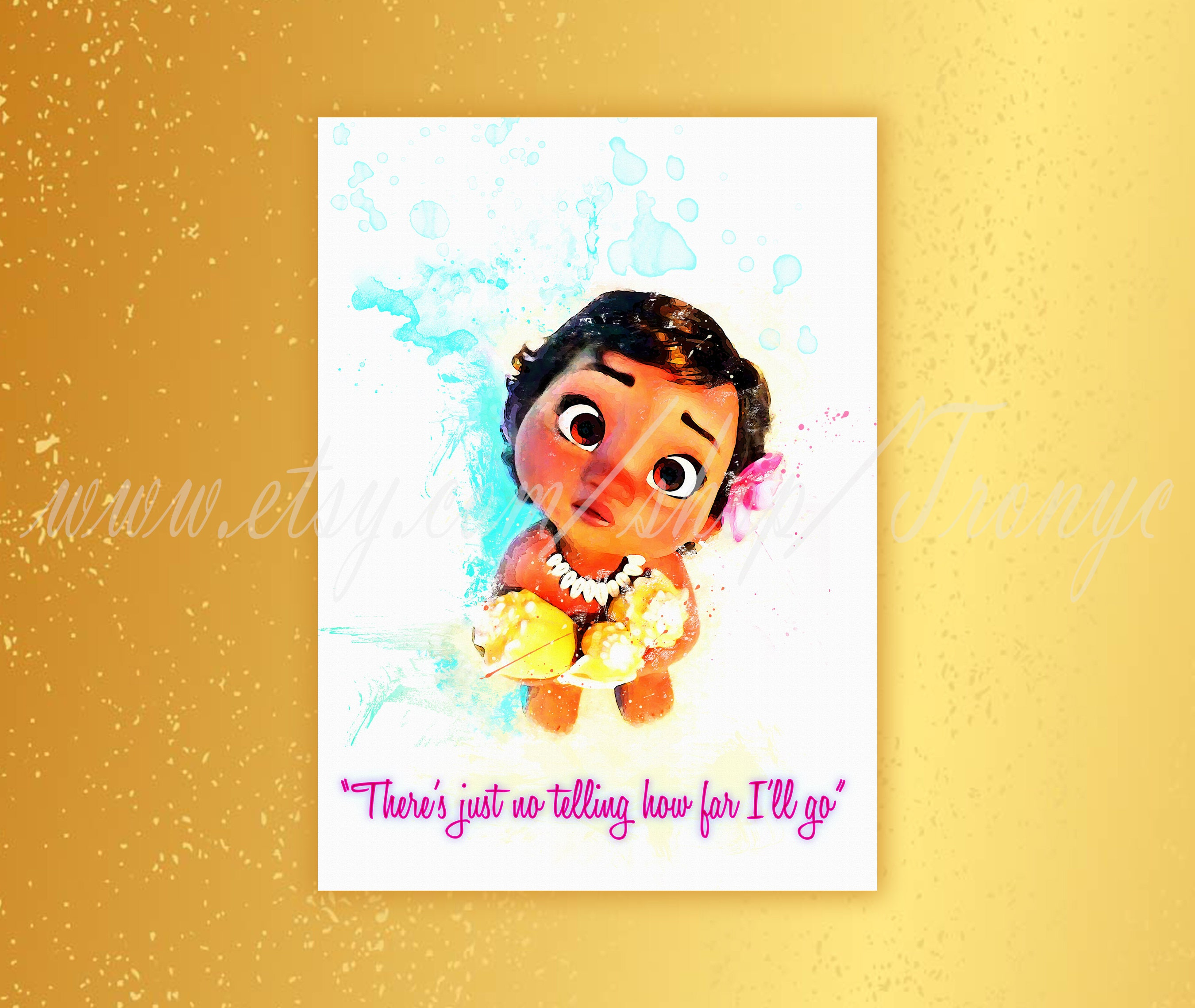 Little Moana Poster Disney princess Moana watercolor print | Etsy